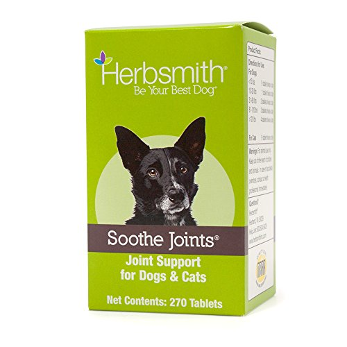 Herbsmith Soothe Joints - Cat + Dog Arthritis Pain Relief -Relief For Senior Pet Aches + Pains - Joint Health for Senior Dogs + Cats - 270 Tablet