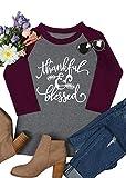 Women's Thanksgiving Thankful Feather Arrow Print O-Neck T-Shirt (XL, Gray)