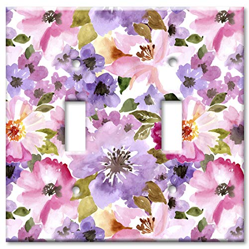 Art Plates 2 Gang Toggle Wall Plate - Pink and Purple Flower -