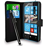 Nokia Lumia 520 - Premium Leather Wallet Flip Case Cover Pouch + Long Touch Stylus Pen + Mini Touch Stylus Pen + Screen Protector & Polishing Cloth (Wallet Black)