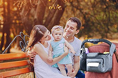 W Warmhol Baby Stroller Organizer with Insulated Cup Holder Tissue Pocket Universal Fit for All Strollers Multiple Pockets(Grey