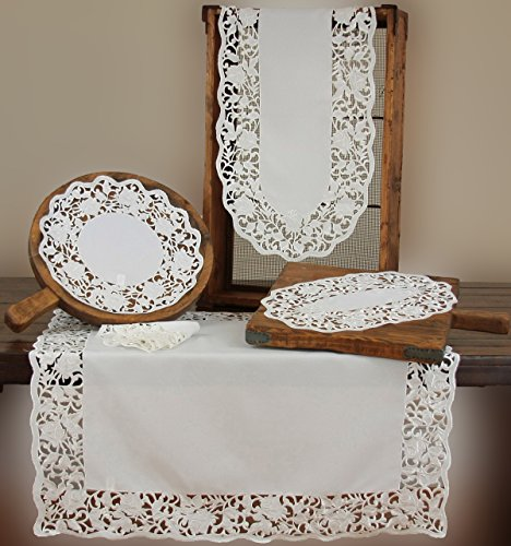 Xia Home Fashions Somerset Embroidered Cutwork Floral Doilies, 12-Inch Round, White, Set of 4 by Xia Home Fashions (Image #1)