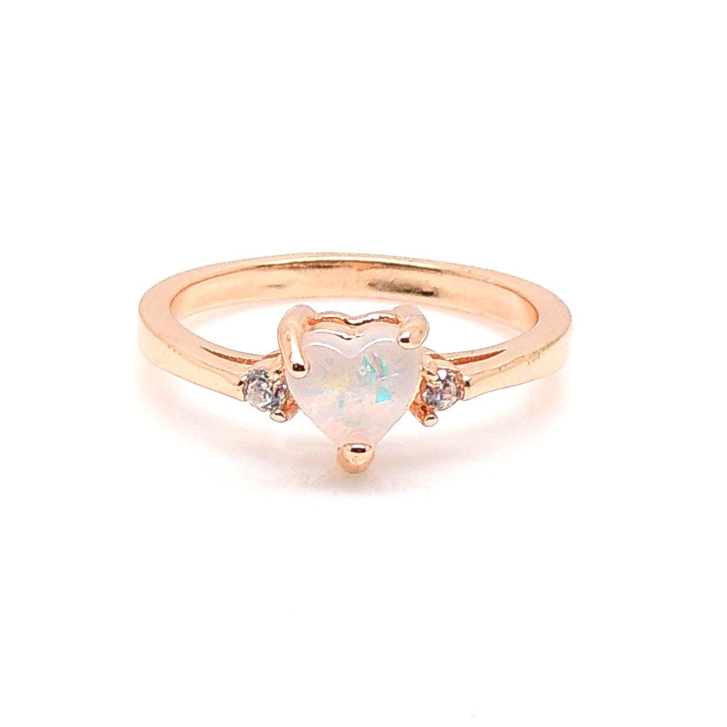 Ginger Lyne Collection Carrington Heart Simulated Oval Fire Opal Ring