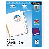 Avery Big Tab Write-On Dividers, 5-Tabs, White, 1 Set (23075), Office Central