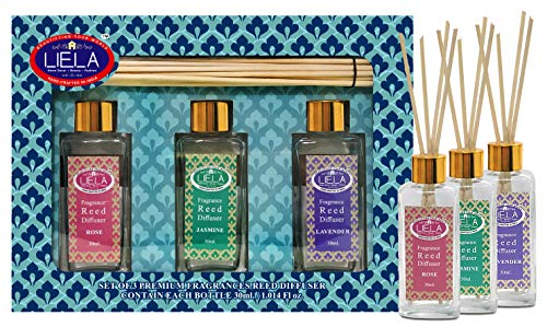 LIELA - Reed Diffuser Set Gift Box with 12 Reed Sticks Set of 3 Glass Bottle 35 ml. Each in Pure an Fragrances Lavender, Jasmine and Red Rose Perfumes