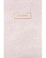 Journal: Vintage Pink Ostrich Skin Leather style - Gold Lettering - Softcover | 120 Blank Lined 6x9 College Ruled Pages