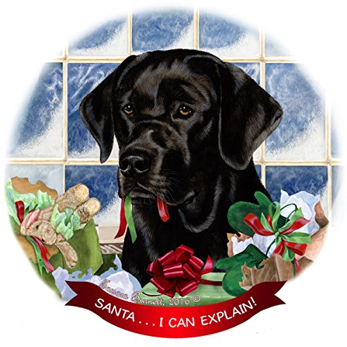 Black Labrador Lab Dog Porcelain Hanging Ornament Pet Gift 'Santa.. I Can Explain!' for Christmas Tree and Year Round