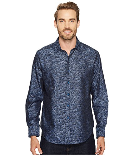 Robert Graham Men's Tern Cotton Classic Fit Sport Shirt, Indigo, 2XLARGE by Robert Graham