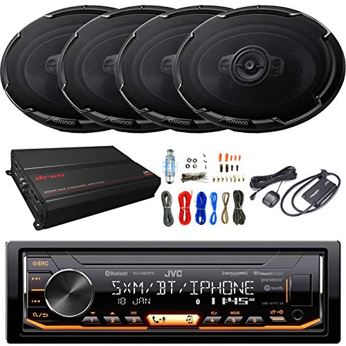 Enrock Audio Single-DIN Bluetooth InDash AM/FM Digital Media Car Stereo Receiver, 4 x Kenwood 6x9 5-Way 650W Automotive Speakers, 4-Channel Amplifier, Satellite Radio Tuner Kit, Amp Wiring Kit