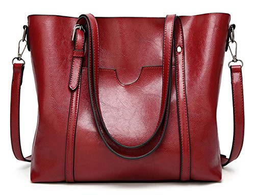 (BAISHILIN Women's Vintage Style Soft Leather Work Tote Large Shoulder Bag (Wine red))