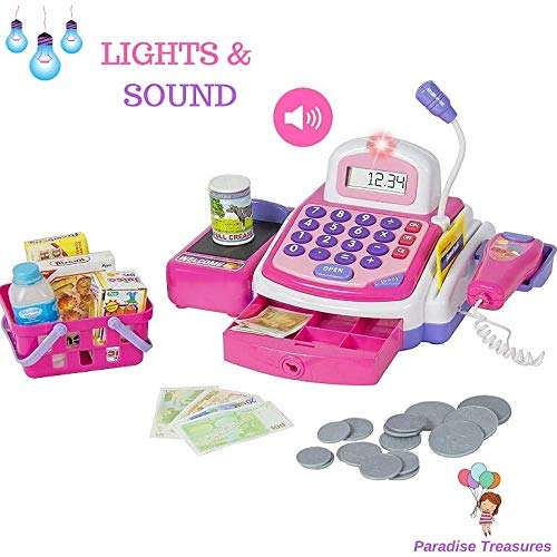 Paradise Treasures Electronic Cash Register Toy Scanner and Credit Card Reader Realistic Actions & Sounds Learning Toy Cash Register for Girls (26pc) by Paradise Treasures