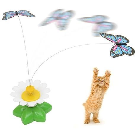 Juguete giratorio eléctrico de mariposas interactivas para gato con mariposas al azar, juguete