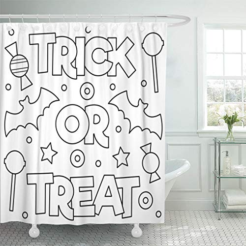 Emvency Waterproof Fabric Shower Curtain Hooks Halloween Trick Treat Coloring Page Book Drawing Kids Adorable Extra Long 72