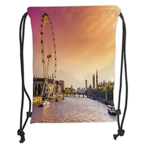 New Fashion Gym Drawstring Backpacks Bags,London,Sunset View Bridge on Thames River Ferris Wheel London Eye Big Ben Westminster,Peach and Pink Soft Satin,Adjustable String Closure -