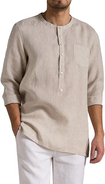 Camisa De Lino para Hombre Cuello Redondo Vintage Casual Camiseta De Manga Larga: Amazon.es: Ropa y accesorios