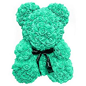 Homentum Rose Bear Teddy Forever Artificial Flowers are The Best Gifts for Valentine's Day, Anniversaries, Birthdays, Weddings (Small, Green) 62