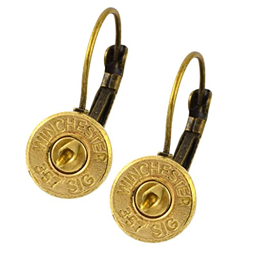 - Little Black Gun 357 Sig Bullet Shell Leverback Earrings, Thin Brass