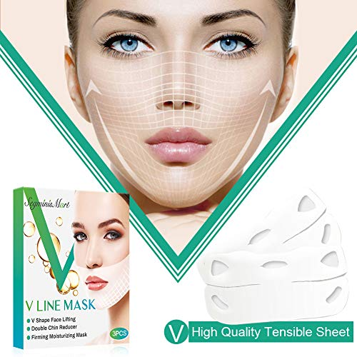V Line Mask Chin Up Patch Double Chin Reducer Mask V Shaped Slimming Face Mask Moisturizes and