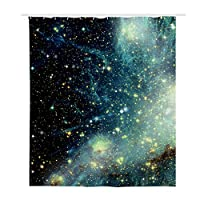 Freewander Galaxy Printing Shower Curtain Liner with Plastic Hooks, 70 x 66 inches - Non Toxic, Eco-Friendly, No Chemical Odor Curtain for Home Bathroom Decor