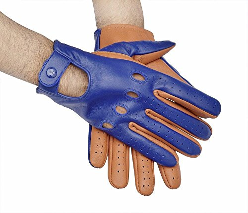 Top Quality Sheepskin Real Soft Leather Men Fashion Two-Tone Driving Gloves (Small) - Two Tone Leather Gloves