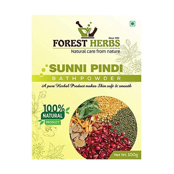 Forest Herbs Sunnipindi Bath Powder Ubtan Pack - Skin Lightening & Tan Removal - Ancient Ayurvedic Healing - Enriched with Turmeric 100Gms