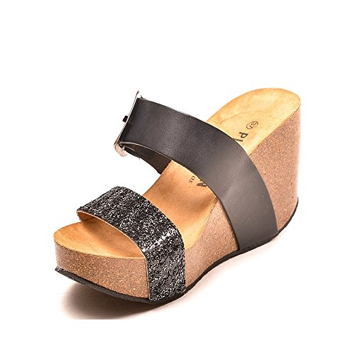 Mujer Sandalias Negro Vestir De Plakton 7tfq4wvq