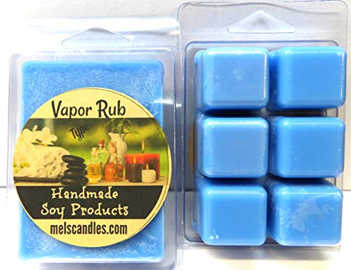 Mels Candles & More Vicks Vapor Rub Type- 3.4 Ounce Pack of Soy Wax Tarts (6 Cubes per Pack) - Scent Brick ()