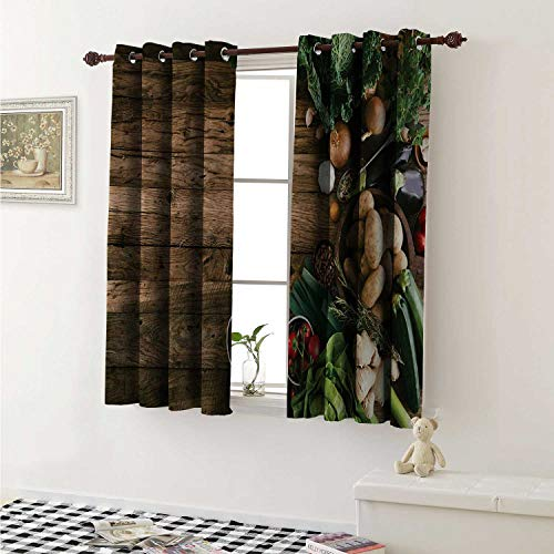shenglv Harvest Waterproof Window Curtain Various Vegetables on Rustic Wooden Table Onions Potatoes Zucchini Cherry Tomatoes Curtains Living Room W55 x L45 Inch Brown Green