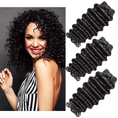 Deep Wave Human Hair 3 Bundles, Sunfiner Brazilian 9A Virgin Hair Extension Unprocessed Natural Color(14