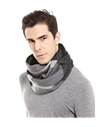 MissShorthair Soft Plaid Winter Scarf for Men Warm Tartan Infinity Blanket Scarves