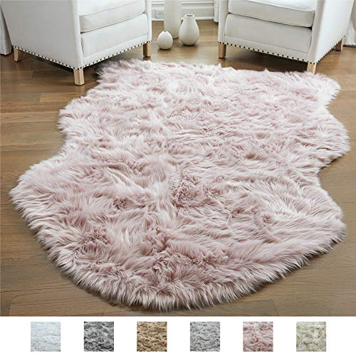 Gorilla Grip Original Premium Faux Sheepskin Fur Area Rug, 3 FT x 5 FT, Softest, Luxurious Carpet Rugs for Bedroom, Living Room, Luxury Bed Side Plush Carpets, Sheepskin, Dusty Rose