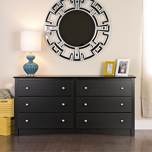 Black Sonoma 6 Drawer Dresser (Wide Bedroom Chest Of Drawers)