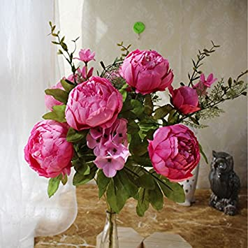 Jiale3536 Kunstliche Blumen 1 Stk 13 Kopfe Pfingstrose Braut