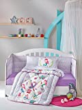 LaModaHome 6 Pcs Luxury Soft Colored Bedroom Bedding 100% Cotton Ranforce Baby Sleep Set Quilt Protector/Soft Relaxing Comfortable Pattern Design Cute Bear/Baby Bed Size with Flat Seet