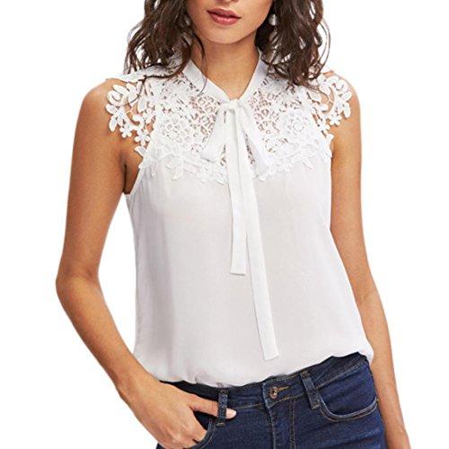 Vest Shirt,Women Summer Sleeveless Bow Tie Lace Thin Chiffon Blouse Tank Top (XL, White) by Shybuy