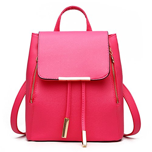 PU Backpack rose Ladies Leather bag Girls Travel Bag Women Fashion Shoulder Rucksack q0aw1wEA