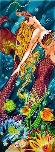 "Swim Dance Mermaid - Decorative Ceramic Art Tile - 6""x16"" En Vogue"