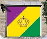 Outdoor Mardi Gras Decorations Garage Door Banner Cover Mural Décoration 7'x8' - Mardi Gras Diagonal Stripes - ''The Original Mardi Gras Supplies Holiday Garage Door Banner Decor''
