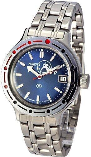 Vostok Russian Watch Movement (Vostok Amphibian Military Russian Diver Watch Scuba Dude Blue 2416/420059)
