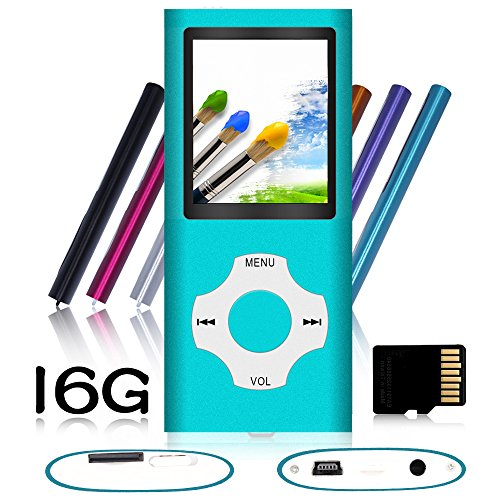 Tomameri – Portable MP3 / MP4 Player with Rhombic Button, Including a 16 GB Micro SD Card and Support Up to 64GB, Compact Music, Video Player, Photo Viewer Supported – Blue
