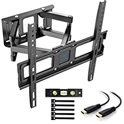 PERLESMITH TV Wall Bracket Swivel Tilt, Solid Sturdy Full Motion TV Mount for 32-55 Inch TVs, Holds up to 45kg, Max VESA…