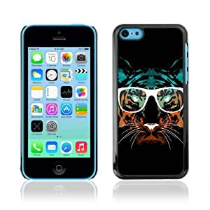 Designer Depo Hard Protection Case for Apple iPhone 5C / Hipster Glasses Cool Tiger by icecream design