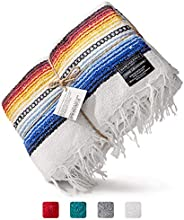 Premium Mexican Blanket | Authentic Hand Woven Falsa Blanket & Yoga Blanket, Made by Traditional Mexican A