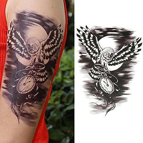 Oottati Tatuajes Temporales Old School Reloj Negro Del Noctámbulo (2 hojas)