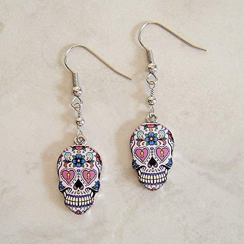 Multi Color Sugar Skull Flower Heart Enamel Charm Stainless Steel Earrings Day Of The Dead Gift Idea