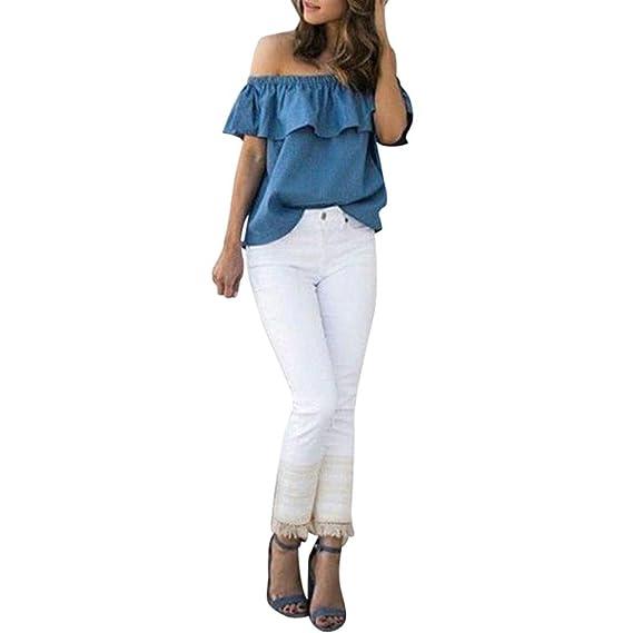 ASHOP Camisetas Muje, Camisetas Sin Mangas EN Oferta Suelto Tops Blusas de Mujer Elegantes de Fiesta Baratas Fuera del Hombro T-Shirt Moda 2018: Amazon.es: ...