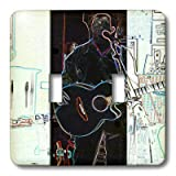 3dRose lsp_44123_2 A Man with a Guitar Playing Music in a Pub in Ireland Done in a Solar and Crayon Finish Double Toggle Switch