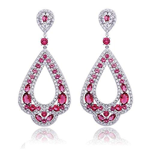 Marquise Cluster Pendant (Women's Wedding Bride Crystal Teardrop Cluster Marquise Chandelier Pendant Pierced Earrings Red)