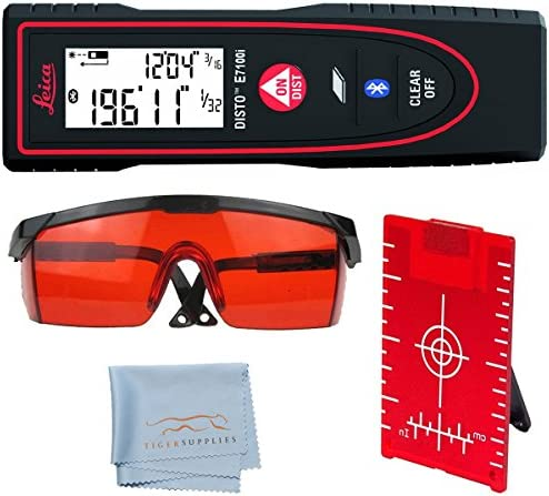 Leica Disto E7100i Laser Distance Measurer, 200-Feet, Black Red – Red Laser Glasses for Distance Meters – Red Magnetic Floor Target Plate with Stand – Tiger Supplies Cleaning Cloth