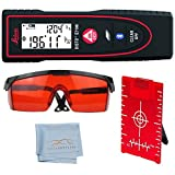 Leica Disto E7100i Laser Distance Measurer, 200-Feet, Black/Red - Red Laser Glasses for Distance Meters - Red Magnetic Floor Target Plate with Stand - Tiger Supplies Cleaning Cloth
